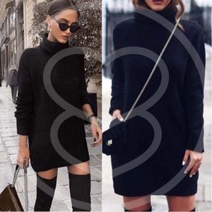 VENUS kNit Sweater Dress - BLACK